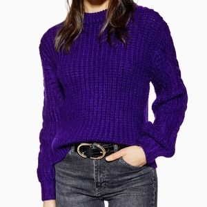 NWT TopShop Purple Plaited Sleeve Chunky  Sweater